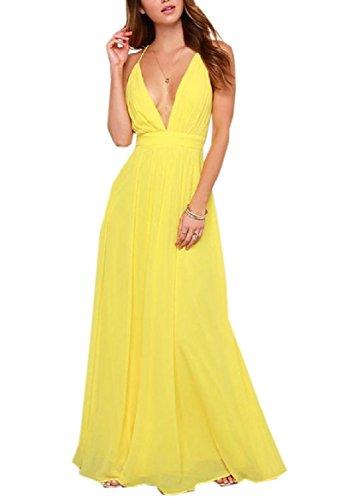 Boho Yellow Back Dress Long Women Sling Pure Notch Colour Collar Racer Coolred qOHgw