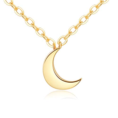 - Crescent Moon Necklace (Minimalistic Inspirational Jewelry) Gift Ready - Gold Plating Over Brass 18""