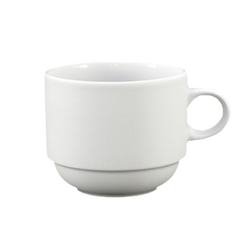 Fortessa Fortaluxe SuperWhite Vitrified China Dinnerware, Cassia 8-Ounce Stackable Coffee/Tea Cup, Set of 6 - Dinnerware Tea Set