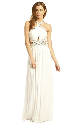 Womens White Kleid Abend Maxi Polly IKRUSH fxwRSqq
