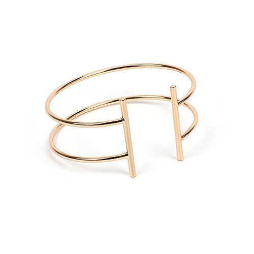 MUZHE Double T Open Bangle Bracelet - Thin Adjustable Arm Cuff Bangle Bracelet for Women Watch Accessories (GOLD 2 layer) (Thin Cuff Watches)