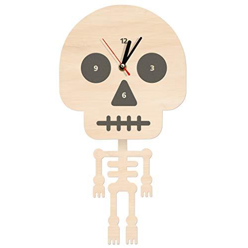 Zdtxkj Cartoon Skeleton Wall Clock with Swinging Body