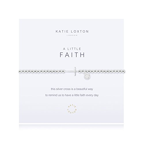 Katie Loxton A Little Faith Horizontal Cross Silver Women's Stretch Adjustable Charm Bangle ()
