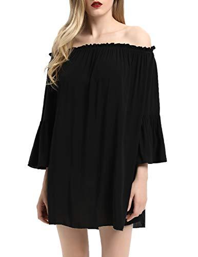- KANCY KOLE Off Shoulder Boho Ruffle Sleeve Blouse Mini Dress(Black,S)