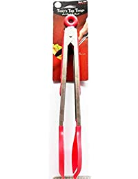 Buy 10 Inch Red color Heavy Duty, Non-stick, Stainless Steel Kitchen Tongs for Barbeque, Cooking, Grilling Turner... reviews