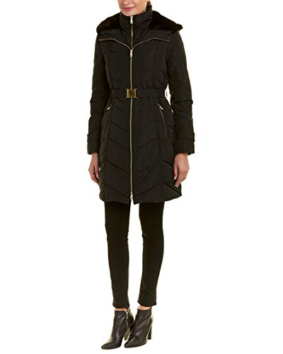 Cole Haan Women's Belted Zip Front Down Jacket with Faux Fur Removable Hood Black Small