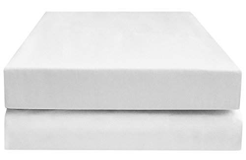 PHF Hotel Collection Fitted Sheet 200T Cotton Polyester Percale Deep Pocket Sheet 2 Sheets Queen Size White - Euro Fitted Sheet