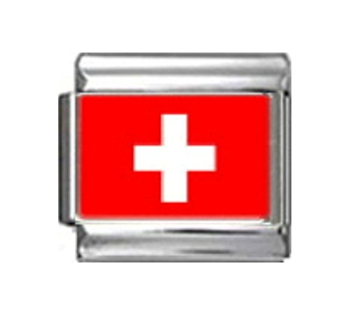 SWITZERLAND SWISS FLAG Photo Italian Charm 9mm - 1 x PC170 Single Bracelet - Traditional Charm Italian