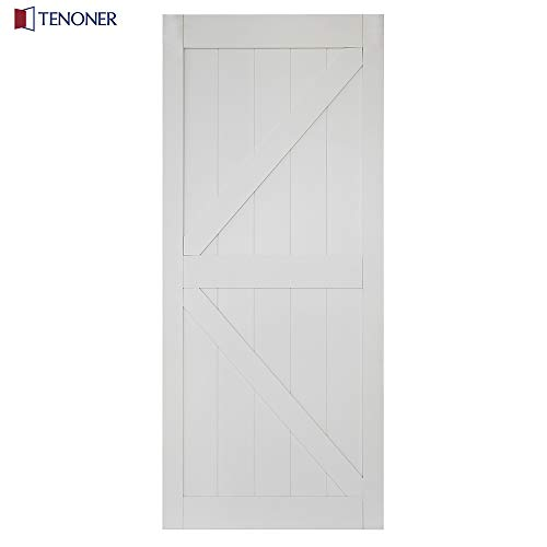 TENONER 36in x 84in White K-Frame Sliding Barn Door, Hardware not Included