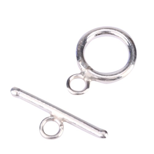 Price comparison product image 2 Sets x .925 Sterling Silver Round Toggle Clasp 10mm for Bracelet Necklace Design ss28