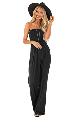 Wxnow Women's Tube Top Sleeveless Striped Wide Legs Casual Pants High Waist Jumpsuit Black XL