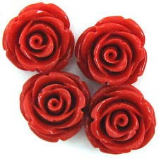 8 20mm Synthetic Coral Carved Rose Flower Pendant Bead red