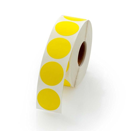 Yellow Round Color Coding Inventory Labeling Dot Labels / Stickers - 1 Inch Round Labels 1000 Stickers Per Roll
