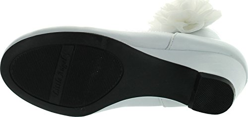 Pictures of Leatherette Chiffon Bow Ankle Cuff Kiddie Heel Wedge Sandal (Toddler/Little Girl/Big Girl) BA62 - White 2