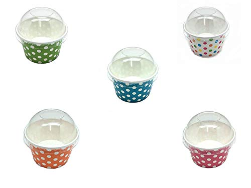 PEPPERLONELY Paper Ice Cream Cups With Dome Lids, Polka Dot Cup Mix 4 Ounce 30