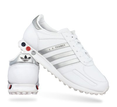 Adidas Originals LA Trainer White/Silver/Black (6): Amazon ...