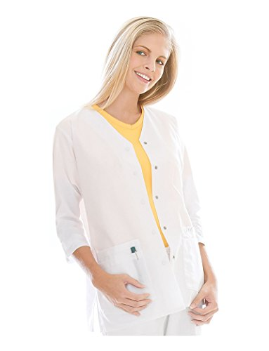 Landau Women's 3/4 Sleeve Tunic Jacket' Scrub Top White Small