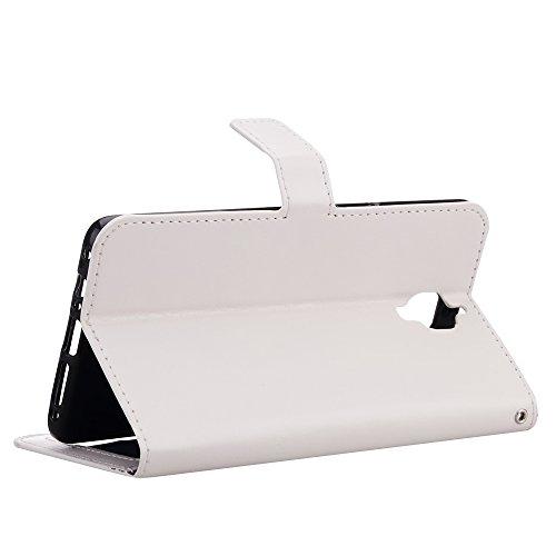 LUSHENG Funda para OnePlus 3,Heavy Duty Choque Absorción Flip Suave PU Cuero Textura Leather Libro Estuche Protectora Cartera Billetera Case Plegable Cover y Función de Soporte - Marrón Blanco