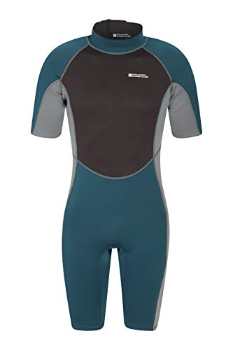 (Mountain Warehouse Shorty Mens Wetsuit - Neoprene One Piece Swim Suit Petrol Blue Medium/Large)