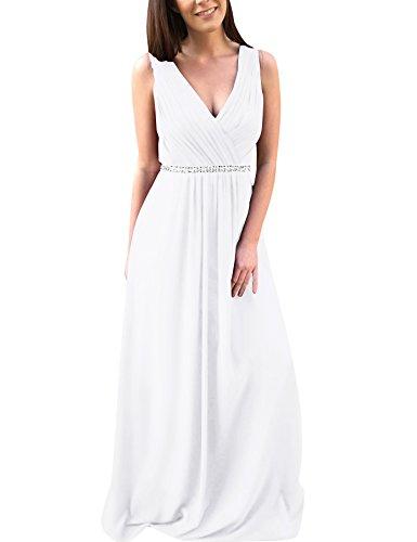 Une Ligne Pour Les Femmes Bess Mariée V-cou Robe De Soirée De Bal De Perles En Mousseline De Soie Plissée Blanche