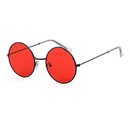 Round Retro Sunglasses Men Women Steampunk Style Circle Sun Glasses (Black/Red, 50)
