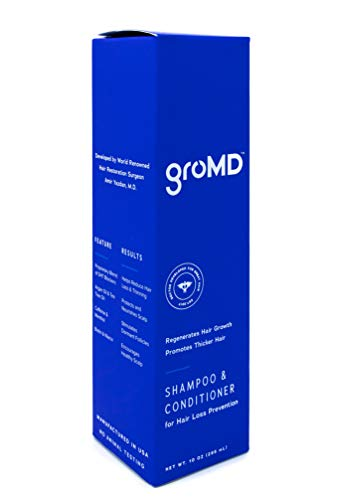 GroMD Hair Growth & Hair Loss Prevention Shampoo & Conditioner, 10oz Bottle, Doctor-Developed Proprietary Blend of DHT Blockers, Argan Oil, Caffeine, Biotin, Daily Use for All Hair Types, Men & Women by GroMD