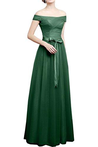 Brautjungfernkleider Tanzenkleider Lang A Dunkel Abendkleider Linie mia La Tuell Damen Braut Gruen Flieder Rock Schulterfrei T0F78w