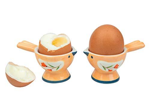 WD-Set of 2 Pcs Cute Bird Shape adorable Ceramic soft or Hard boiled egg cup holder (Egg holder) - for Breakfast Brunch,kitchenware, home kitchen decoration or even a giftt-candy orange