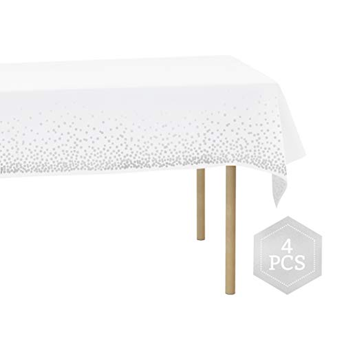 Plastic Table Cloths for Rectangle Tables - Waterproof Heavy-Duty Disposable Tablecloths, Ideal for Parties and Events - White Tablecloths, Decorative Silver Polka Dot Pattern - 4 Pack, 54'' - -