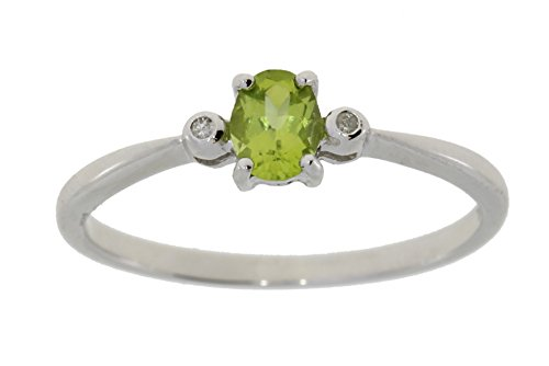 (10kt White Gold Genuine Peridot (.35ct.) and Diamond (.01cttw.) Ring)