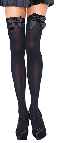 ToBeInStyle Women's Opaque Satin Bow Accent Thigh Highs - Black - One Size - Satin Tights
