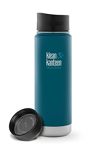 Double Wide Cafe - Klean Kanteen Coffee Set Wide Mouth Insulated Bottle w/ 2 Caps (Loop Cap and Cafe Cap) (Deep Sea, 12 Ounce) (Neptune Blue, 20 Ounce)