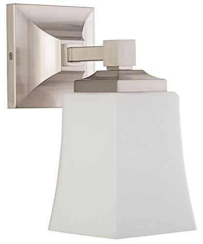 Brighton 1 Light Bathroom Vanity Fixture Brushed Nickel w/Frosted Glass Linea di Liara LL-WL240-1-BN