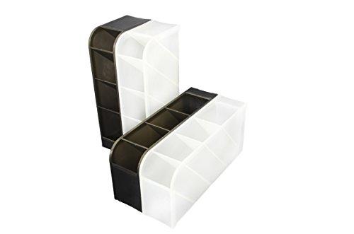 STYLIO Office Desk Organizer - Caddies for Office/Teacher Supplies – Translucent Black & White Caddy Organizer Racks (Set Of 4) Perfect for Desktops by Stylio (Image #3)