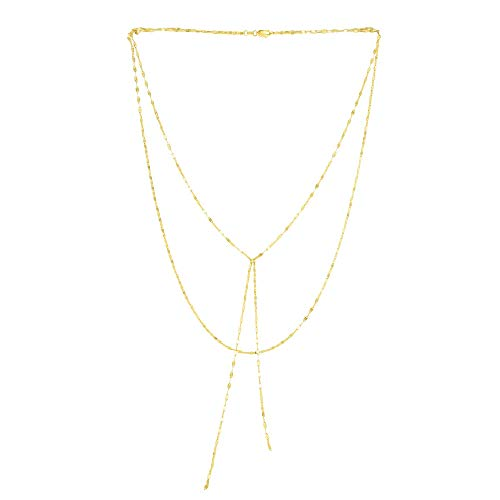 14k Yellow Gold Fancy Link Chain Double Layered Lariat Necklace, 17'' by Beauniq (Image #5)