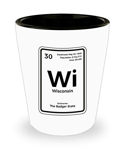 (Wisconsin Shot Glass Periodic Table Badger State Gift)