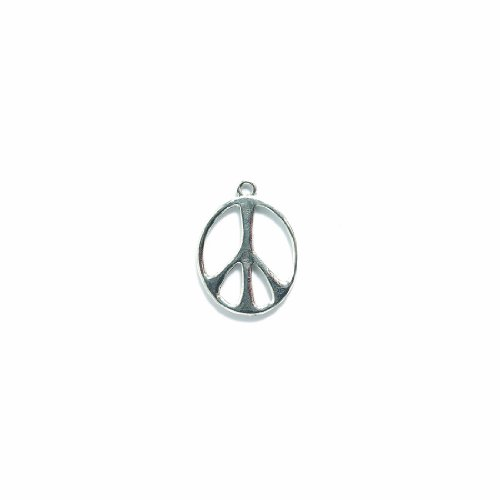Shipwreck Beads Pewter Elongated Peace Sign Charm, Bright Silver, 20 by 27mm, 3-Piece ()