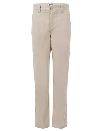 Chaps Boys' Big Flat Front Twill Pant with Stretch, Khaki, ()