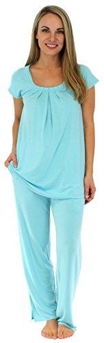PajamaMania Women's Sleepwear Stretchy Knit Short Sleeve Oversized Top and Pants Pajama Set, Caribbean Blue - Pant Set 1