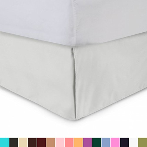 (Harmony Lane Tailored Bedskirt - 21 inch Drop, Bone, Twin Bed Skirt with Split Corners (Available in and 16 Colors) )