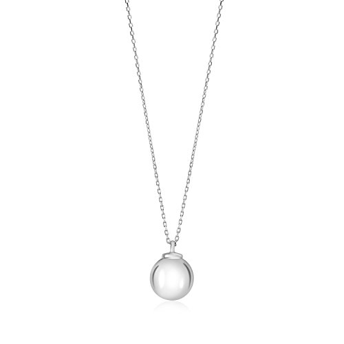 MASSETE Sterling Silver 925 12mm Ball Pendant Necklace Rolo Chain 17