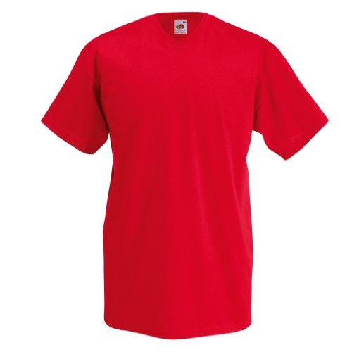 V en telar Fruit Of The el cuello con diseño de T-de camiseta de Valueweight Rosso
