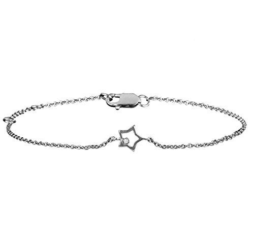 Or Blanc 18 ct Bracelet Diamant en forme de étoile, 0.02 Ct Diamant, GH-SI, 2.34 grammes.