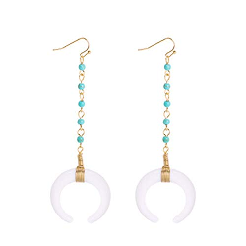 Acrylic Horn Crescent Moon Dangle Drop Earrings Turquoise Beaded Big Horn Drop Earrings for Women Girls Boho Jewelry Gifts