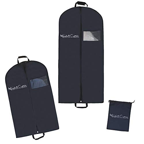 Household Creations Premium Breathable Garment Bags Travel - Set of 2 Garment Bags Clear Viewing Window | Includes 40'' Garment Bags Suits, 54'' Garment Bags Long Dresses, Plus 1 Shoe Bag (3 PCS SET) by Household Creations