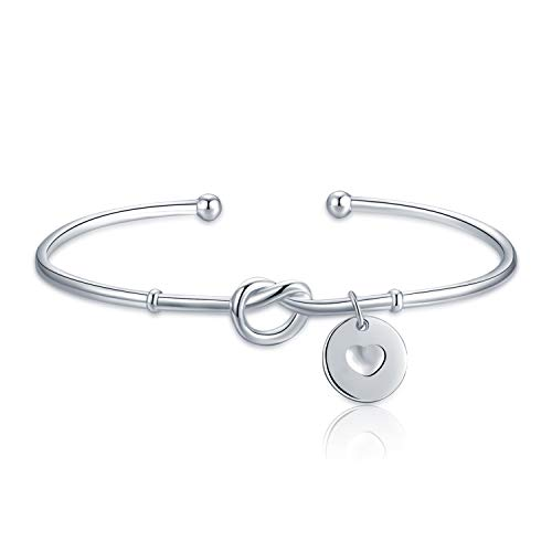 JewelryPalace 925 Sterling Silver Twisted Rope Heart Disc Bangle Cuff Bracelet - Twisted Heart Bracelet Sterling