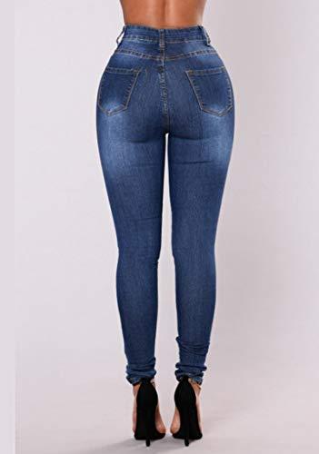 Tempo Leggings del Vita Libero Blu Strappati Pantaloni Jeans Larghi Fit Slim Donna Alta Scuro Skinny Jeans Foro dPwgqdEO