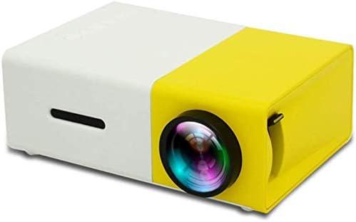 YG300ミニプロジェクター、1080PフルHD、80インチの大画面、ポータブル家庭用ビデオプロジェクター、Uディスク、モバイルハードディスク、SDカードを読み取ることができ、AVでもDVD、セットトップボックス、イエロー、英国、サイズ:EU、カラー:イエロー (Color : Yellow, Size : UK)