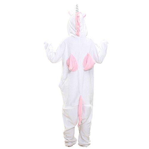 tutine a forma di pigiama - SODIAL(R)da donna da uomo da Unisex in pile Animal tutine a forma di pigiama vantano per costumi Halloween PINK-UNICORN S