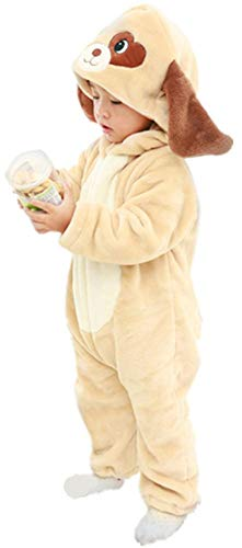 bettyhome Unisex-Baby Kids Xmas Flannel Romper Animal Dog Onesie Pajamas Outfits Suit Costume (80#(6-12months), Khaki)